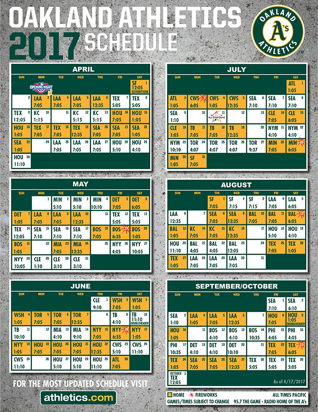 Oakland Athletics 2017 schedule