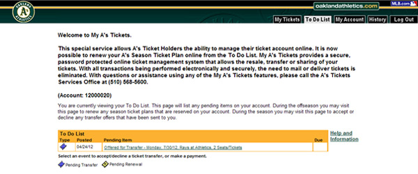 My A's Tickets to do list screenshot