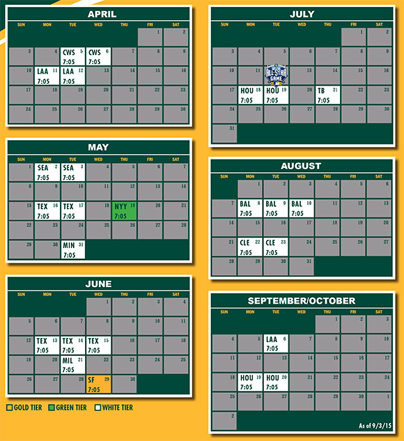 Season Ticket Holder Schedule with Tiers