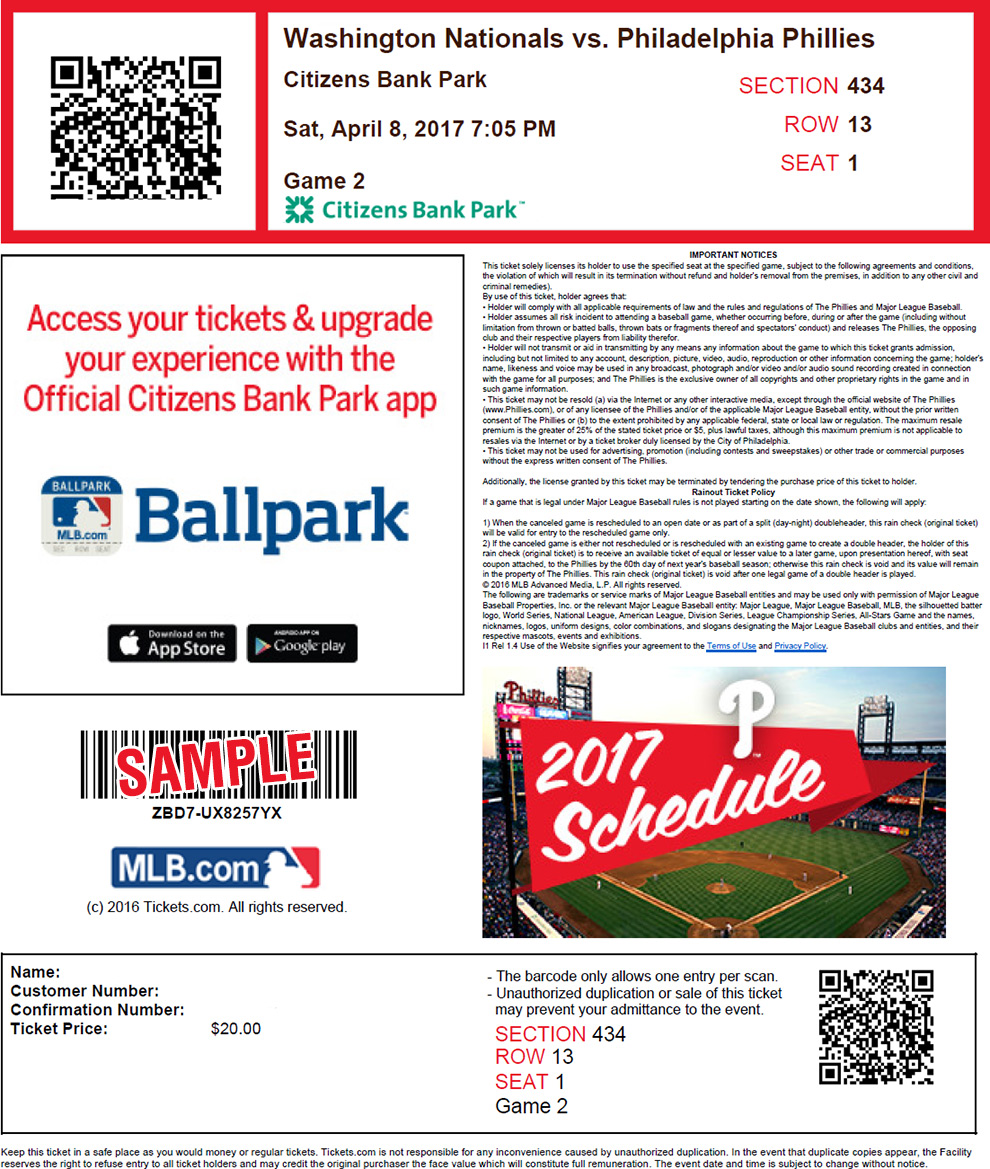 Print tickets at home mlb print sciox Image collections