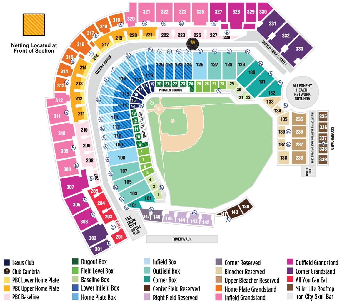 PNC Park Seating Map | MLB com
