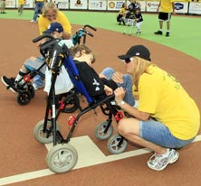 Children and parents at the Pirates Charities Miracle League Field