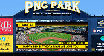 A view of the PNC Park scoreboard
