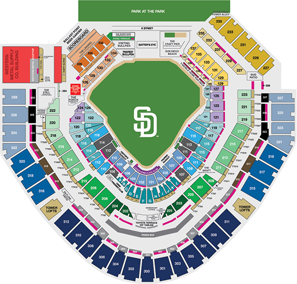 Petco park information seating map san diego padres