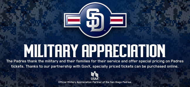 The Padres Thank You For Your Service - Military and their families receive special pricing on Padres tickets. Thanks to our partnership with GovX.com, specially priced tickets can be purchased online.