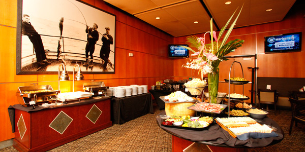 KeyBank Diamond Club Lounge with buffet and full bar