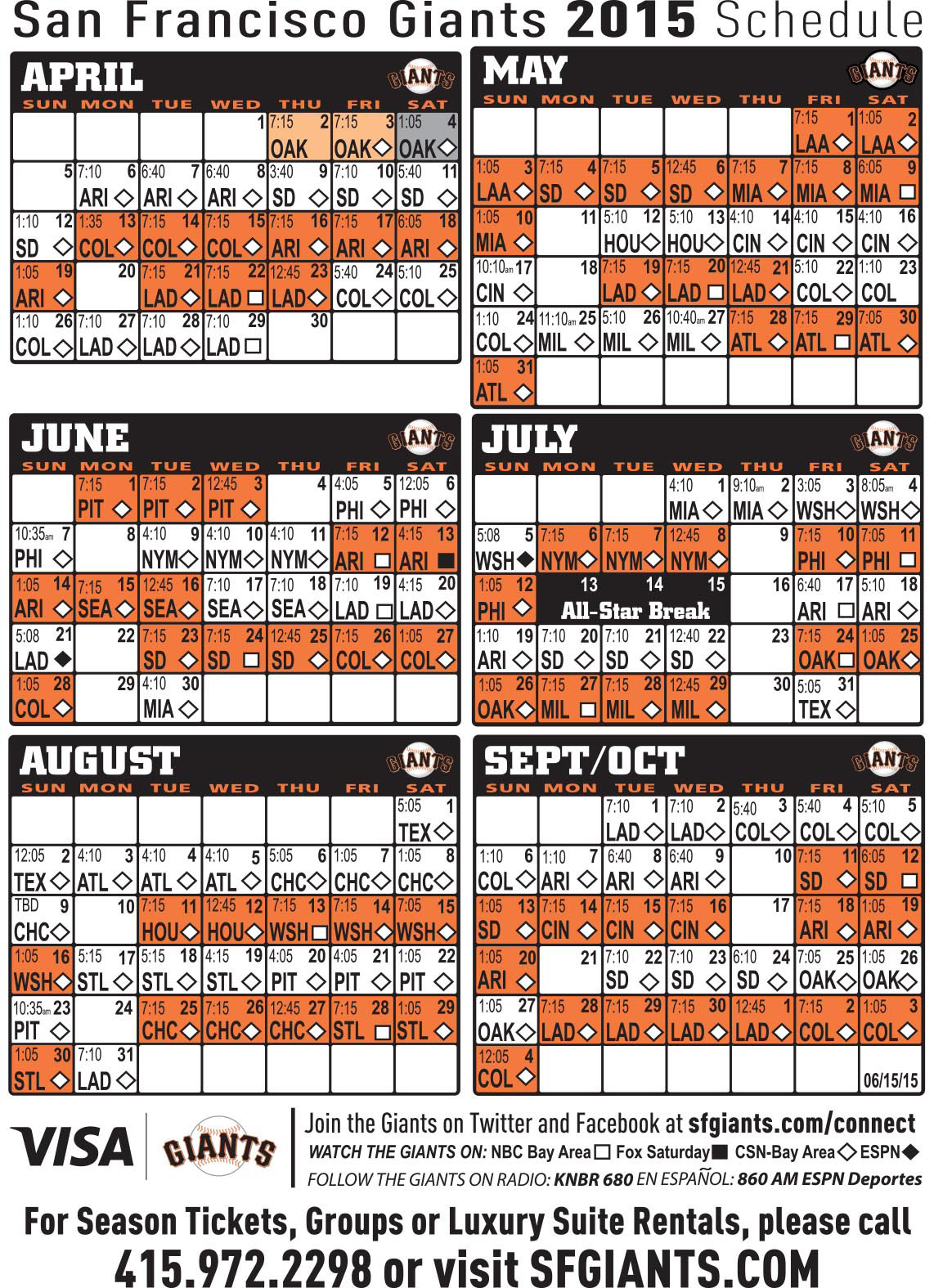 This is an image of Canny Sf Giants Schedule Printable