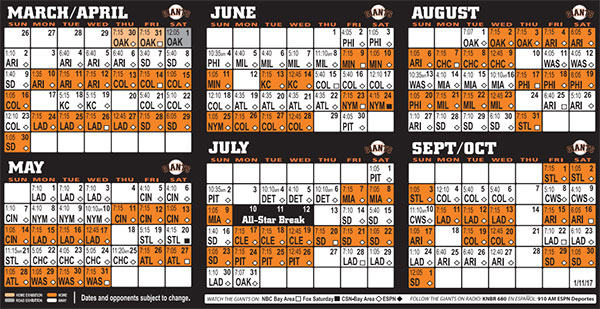 Giants 2017 Schedule