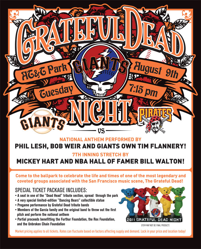 Grateful Dead Night, Tuesday, 8/9 vs. PIT 7:15pm