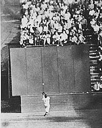 Not only did Willie Mays make a spectacular catch on Vic Wertz's drive, he spun and threw the ball back so quickly that the runners could not advance.