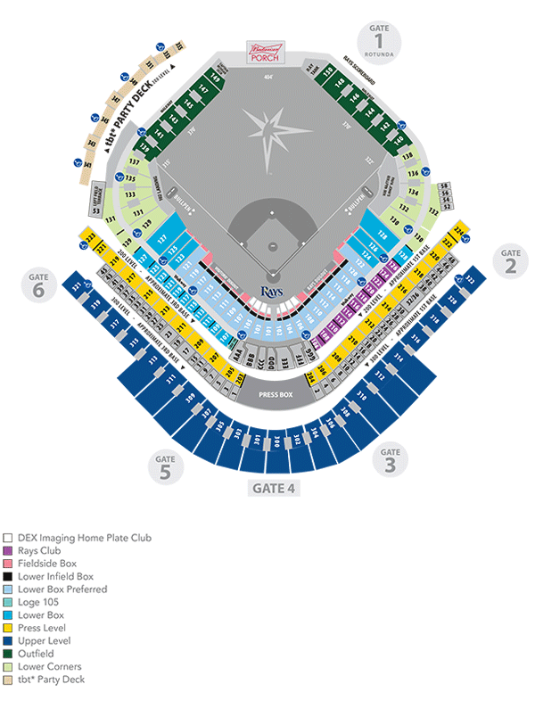 Rays seating map mlb com