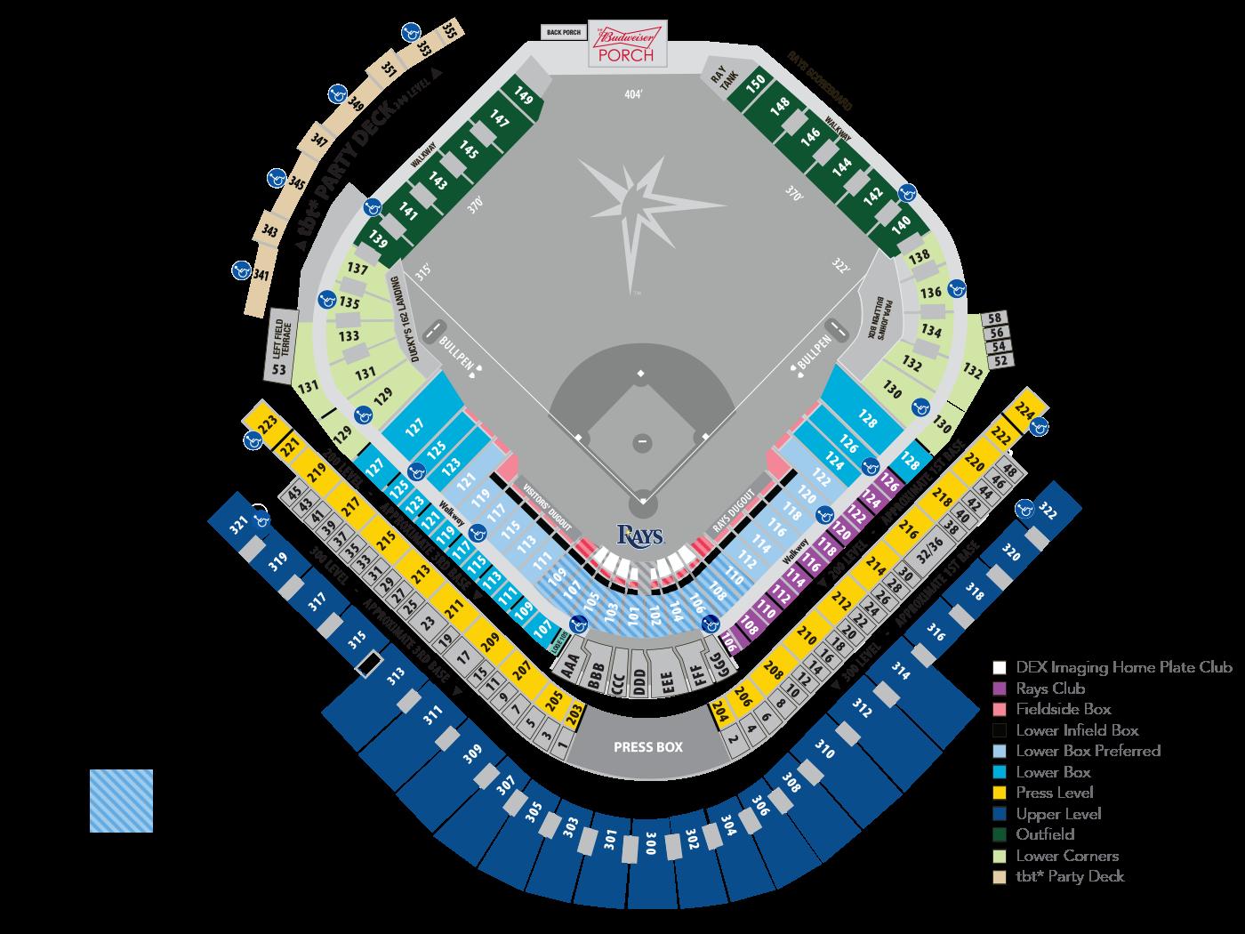 Rays Seating Map | MLB.com