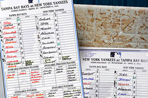 Game-Used Lineup Cards & Bases
