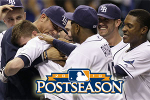 Rays players celebrate win