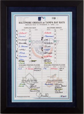 Line up card authenticated by major league baseball the line up card