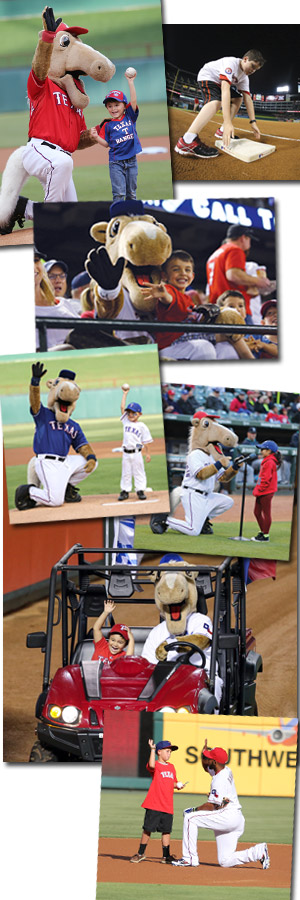 photo collage including kids, rangers captain, and elvis andrus