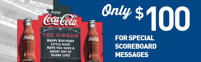Only $100 for Special Scoreboard Messages