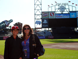 Mother and son enjoy the view from the exeptional AT&T Park in San Francisco