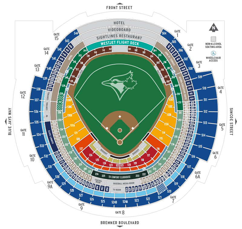 Rogers Centre Seating Map